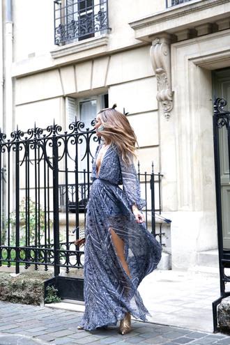 b a r t a b a c blogger dress shoes bag jewels maxi dress blue dress ankle boots
