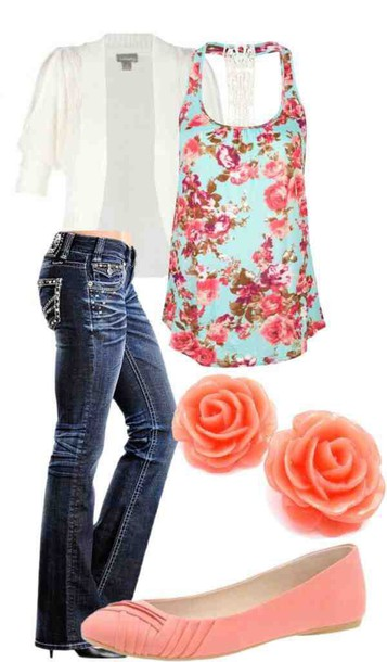 shirt tank top floral jacket jeans