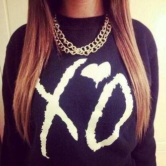 sweater shirt colorful brand blouse the weeknd xoxo jacket the weeknd xo sweat-shirt black crewneck sweatshirt xotwod black xo sweater