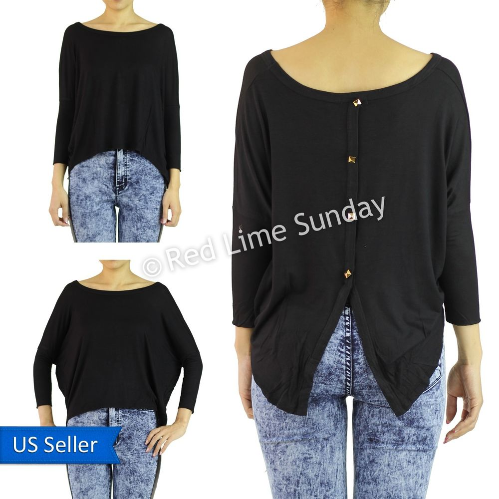 Black Scoop Neck Dolman Sleeve Jersey High Low Hem Gold Studs Top Shirt Reg Plus