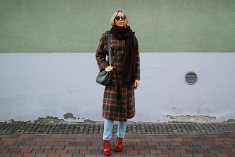 coat tumblr tartan plaid flannel printed coat scarf knitted scarf jeans boots red boots bag winter outfits winter look sunglasses