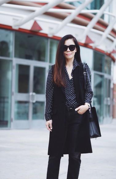polka dots hallie daily blogger jeans bag sunglasses jewels