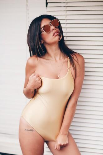 dulceida blogger swimwear sunglasses sunnies glasses summer summer accessories accessories accessory trendy style asymmetric swimsuit