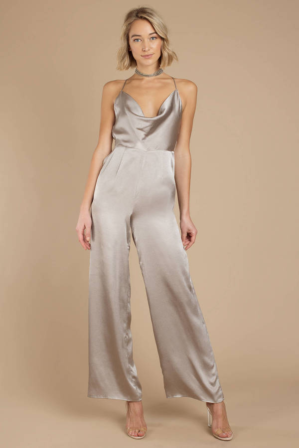 Fall Back Pewter Satin Jumpsuit