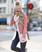 jacket,tumblr,pink jacket,scarf,knit,knitwear,knitted scarf,knitted beanie,pom pom beanie,winter outfits