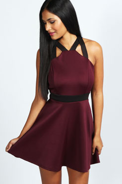 Isabella Contrast Strap Skater Dress at boohoo.com