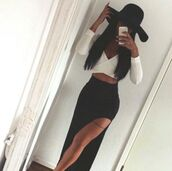 skirt,maxi dress,black,white,hat,tattoo,asian,fashion,top,longsleeve crop top,longsleeve crop,shirt,noir  et blanc,black skirt,side split,maxi skirt,white crop tops,dress,blouse,dope,style,classy,classy dress,black dress,two piece dress set,slit dress,party,party dress,sexy party dresses,cute,cute dress,sexy,sexy dress,summer,summer dress,spring,spring dress,spring outfits,summer outfits,clubwear,club dress,girly,girly dress,long skirt