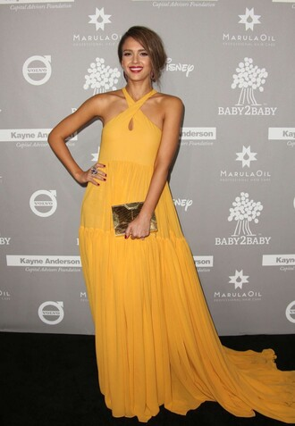 dress jessica alba gown maxi dress yellow yellow dress clutch bag