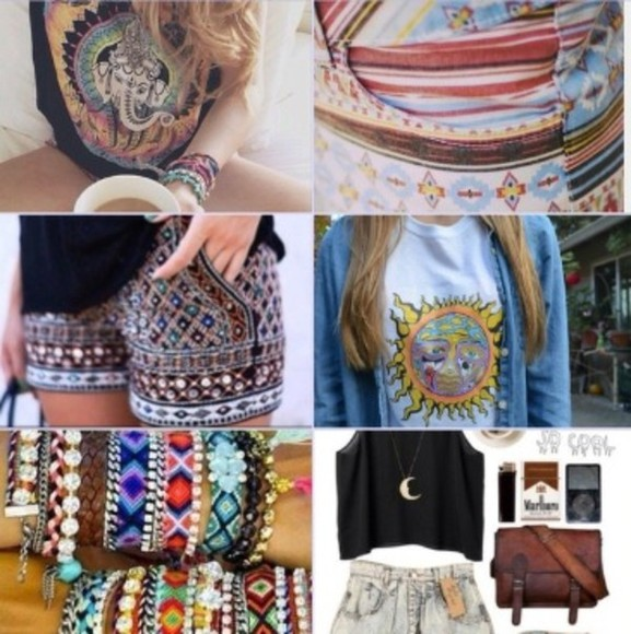 shirt colourful cute shorts bracelets t-shirts bohemian indie hippie