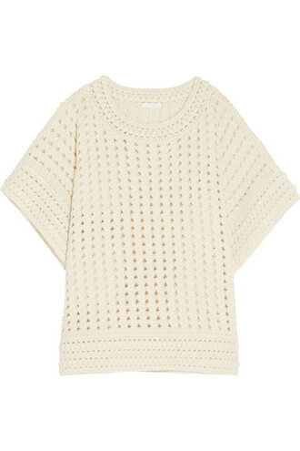 sweater knit crochet cream