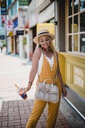 my blonde gal,blogger,jumpsuit,bag,tank top,shoes,hat
