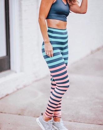 pants leggings workout stripes