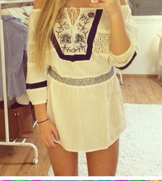 dress white navy blue summer navybluedress