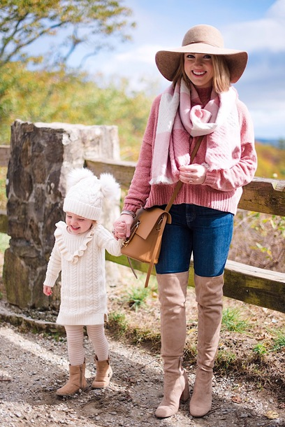 something delightful blogger sweater scarf hat jeans shoes bag dress fall outfits mother and child pink sweater boots over the knee boots floppy hat