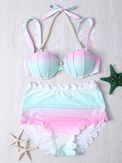 swimwear,pink,mint,beach,bikini,shell,pastel,mermaid,summer,cute,kawaii,zaful