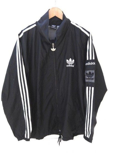 jacket black black and white adidas 90s style 90s style 1990 vintage ghetto old school. Black Bedroom Furniture Sets. Home Design Ideas