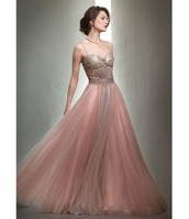 dress,pink,chiffon,mignon,gown,pleated,long,vintage