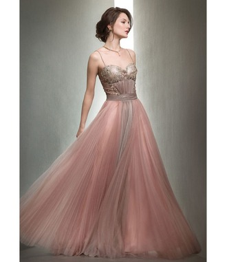 dress pink unique chiffon mignon gown pleated long vintage