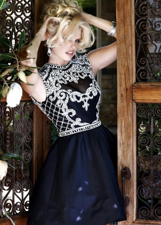 Fashion cheap black cap sleeves turtle neck beaded homecoming dress