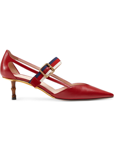 gucci women pumps leather red shoes
