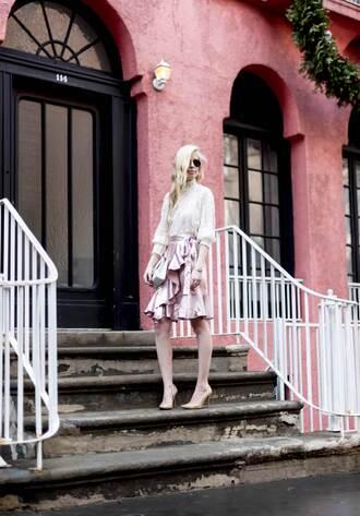 yael steren blogger top skirt bag shoes sunglasses jewels make-up nail polish pink skirt high heel pumps pumps