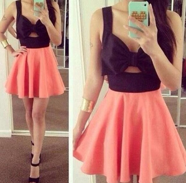 dress bow pink black skaterskirt onepeice coral peach neon black and peach neon peach mini dress dress cut mini bare midriff cut-out
