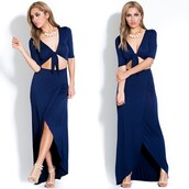 dress,wrap,navy,tie,blue,maxi,slit,long,sexy,boutique,bodycon,bandage