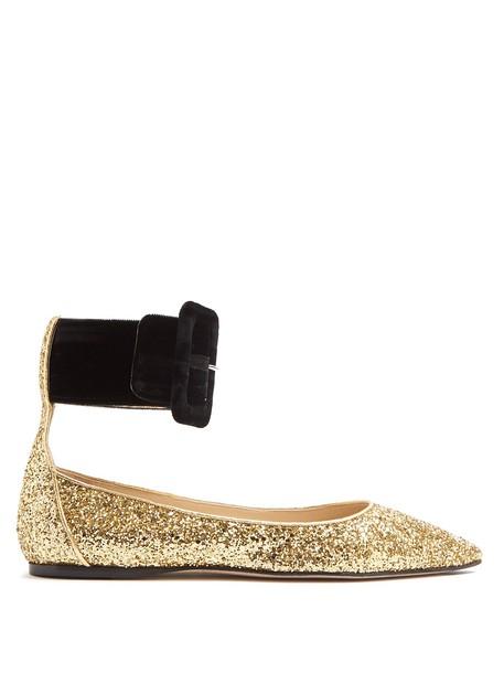 Attico glitter flats gold shoes
