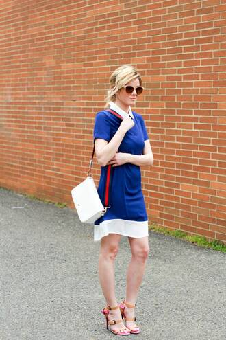 kim tuttle the knotted chain - a style blog by kim tuttle blogger dress bag shoes sunglasses blue dress shoulder bag sandals high heel sandals spring outfits