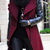 Wine Red Contrast PU Leather Sleeve Double Lapel Zipper Coat - Sheinside.com