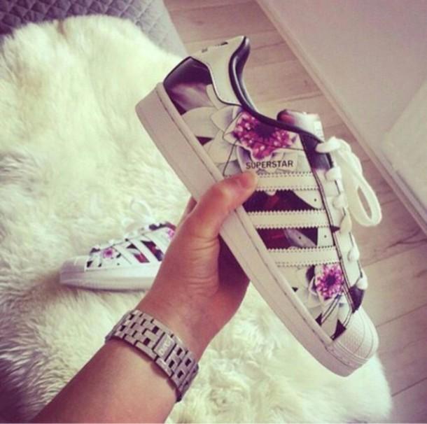 shoes adidas superstar flowers sneakers white purple hip hop rnb yo swag skater shoes. Black Bedroom Furniture Sets. Home Design Ideas