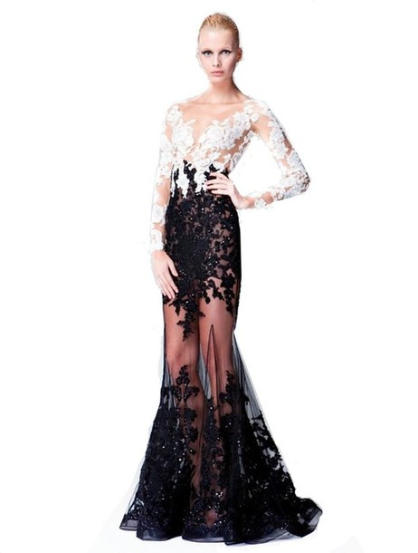 Dress: white black prom dress, white black evening dress, mermaid ...