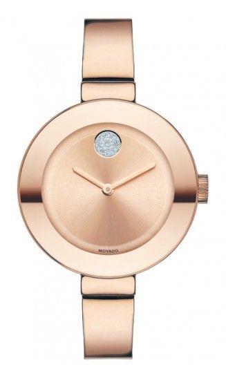 New Movado Bold Unisex Mid Size Rose Gold Tone Bangle Bracelet Watch 3600202 | eBay
