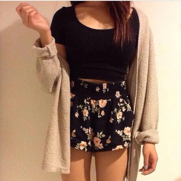 shorts colorful cardigan flowers print