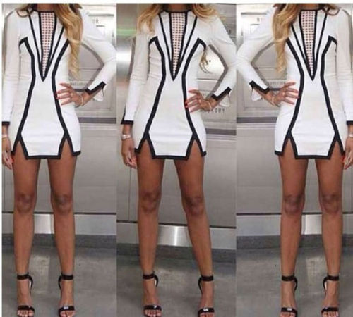 New 2014 Women Spring & Summer Black and White Geometric Above Knee Mini Sexy Party Pencil Dress Celebrity Brand Dresses | Amazing Shoes UK