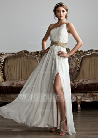 dress greek goddess one shoulder prom dress size 2