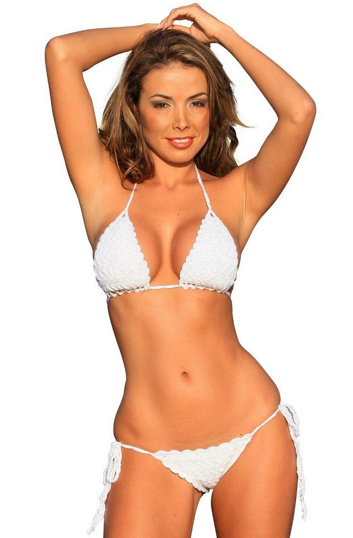 cd6da74d67 White French Riviera Crochet Bikini Swimsuit Swimwear at Amazon Women's  Clothing store: Fashion Bikini Sets