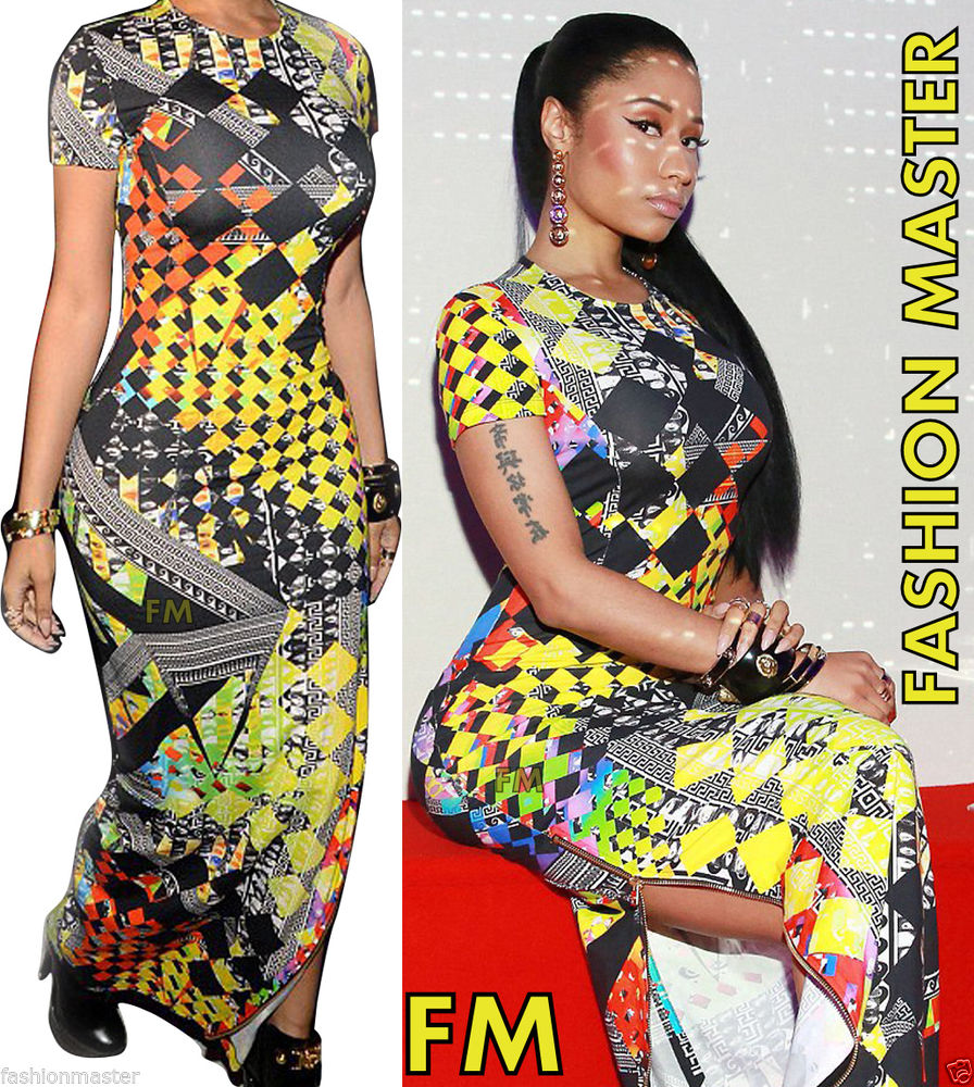 Womens Ladies Celeb Nicki Minaj Sam Kim Side Split Aztec Bodycon Long Maxi Dress
