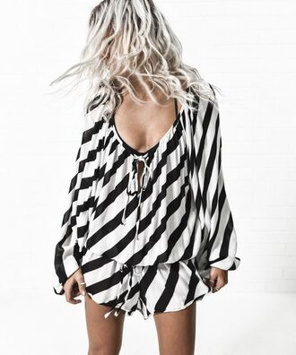 romper stripes black and white long sleeve romper