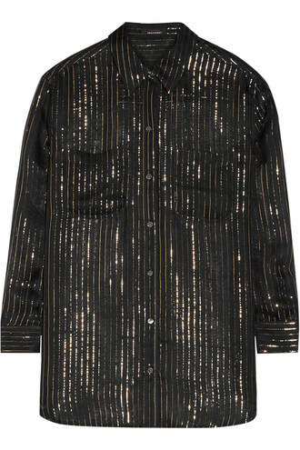 shirt chiffon metallic silk black top