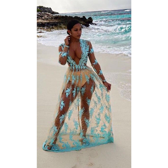 dress mischievous socialite maxi floor length sheer see through mesh lace baby blue long sleeves low cut plunging beach cover up sexy
