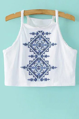 top summer boho white blue fashion crop tops casual trendsgal.com
