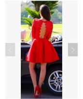 dress,red dress,fit and flare dress,short,open back