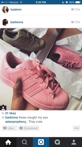 shoes pink adidas army green adidas shell toes adidas supercolor