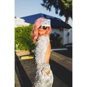 dress,sequin dress,sequins,silver and white,fishtail dress,wedding dress,couture,long prom dress,prom dress,cut-out,tattoo,bridal,long sleeve dress,maxi dress,train,las vegas,pink hair