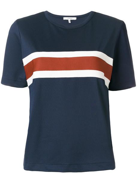 Ganni - crew neck striped T-shirt - women - Polyester/Spandex/Elastane - XXS, Blue, Polyester/Spandex/Elastane