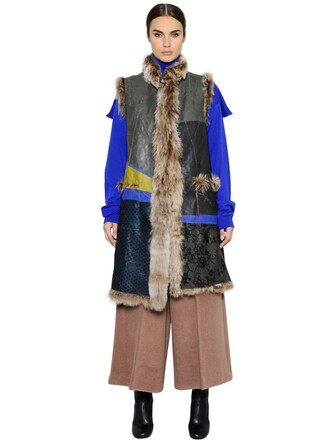 vest fur vest patchwork fur multicolor jacket