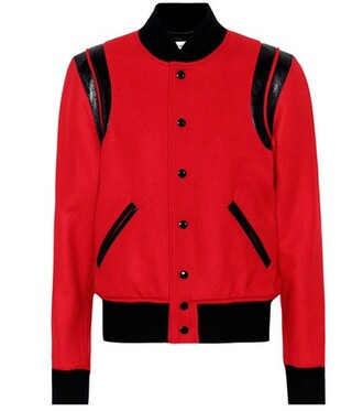 jacket bomber jacket classic wool red