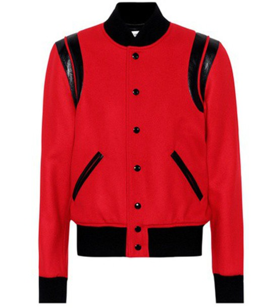 Saint Laurent Classic Teddy wool bomber jacket in red