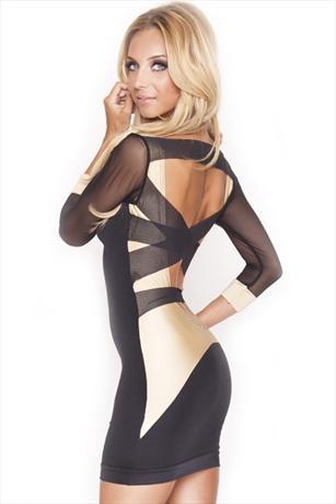 Vestry Online   Quontum Black and Gold Mesh Back Dress in Black/Gold